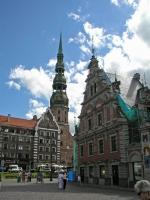 Riga, Schwarhäupterhaus und Petrikirche