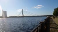 Riga, Vanšu-Brücke, im Hintergrund die Swedbank Zentrale
