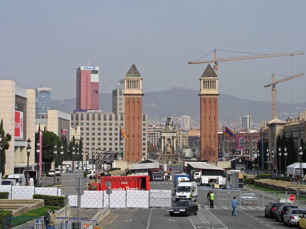 Barcelona, Venezianische Türme, Ausgang des Geländes der internationalen Ausstellung von 1929
