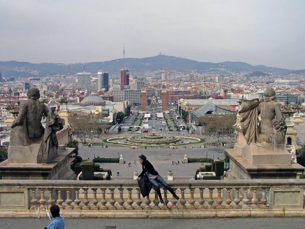 Barcelona, Blick vom Nationalmuseum von Katalonien auf die Stadt