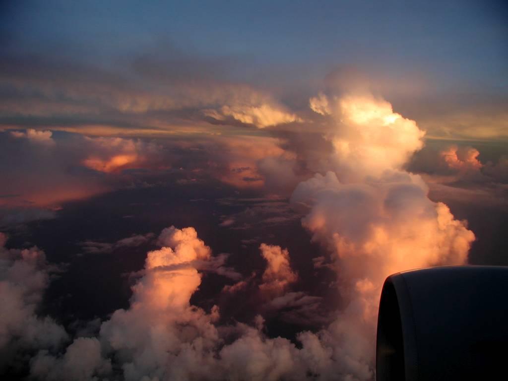 Sonnenuntergang, Rückflug