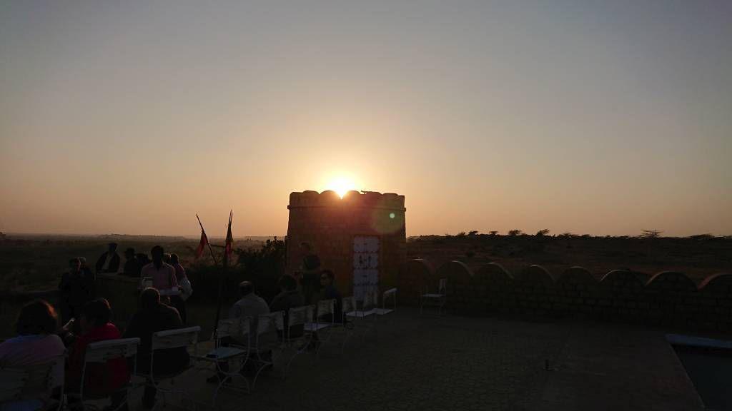 Jaisalmer, Sonnenuntergang am Himmatgarh Palace Hotel