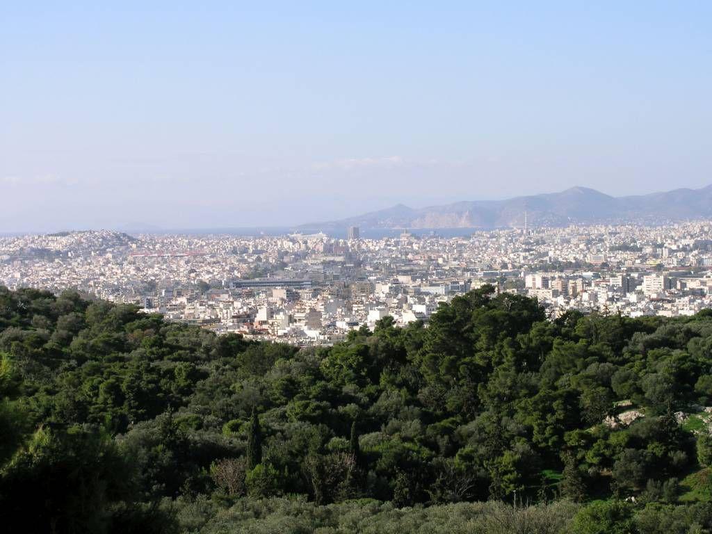 Athen, Blick von derAkropolis in Richtung Piräus