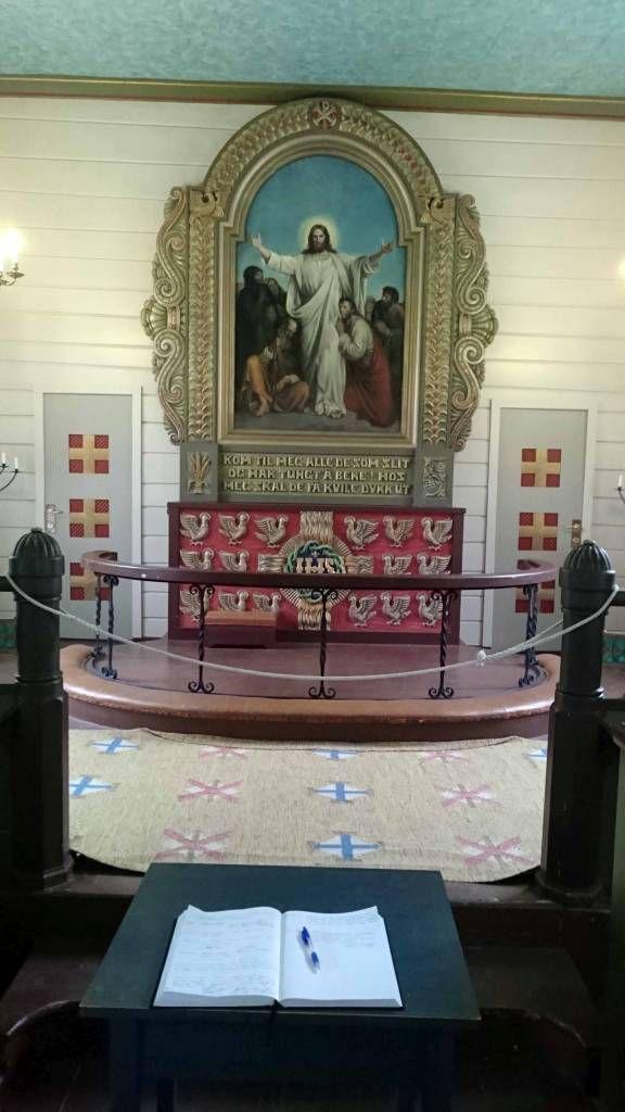 Geiranger, Holzkirche, Altar