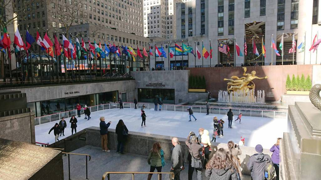New York, Rockefeller Center, Eisbahn