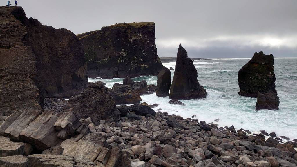 Island, Hafnir, Vogelklippen an der Nordatlantikküste