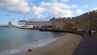Rhodos, Altstadt, Blick auf die MSC Opera im Hafen