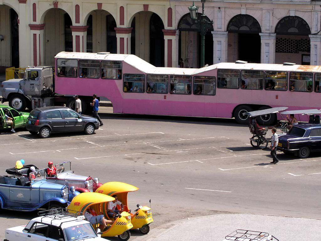 """Ein """"Krokodil"""", die für Havanna typischen Busse. Fassungsvermögen : 160 Personen"""