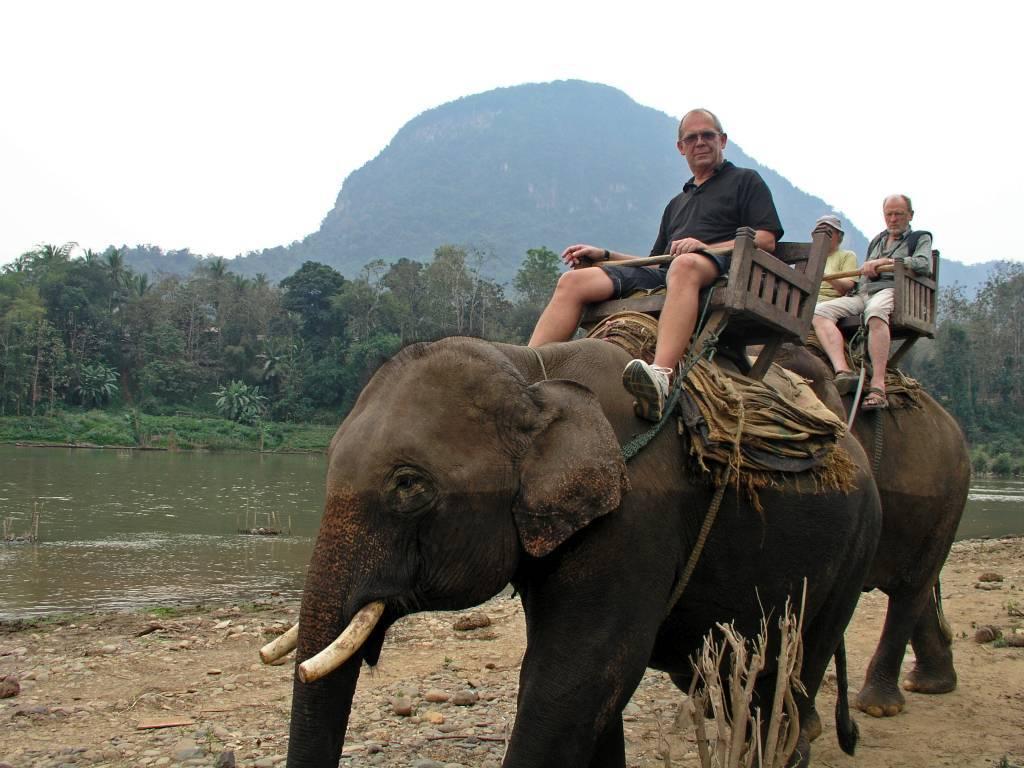 Ban Phôk-Noy, ich auf dem Elefanten nach Querung des Nam Khan