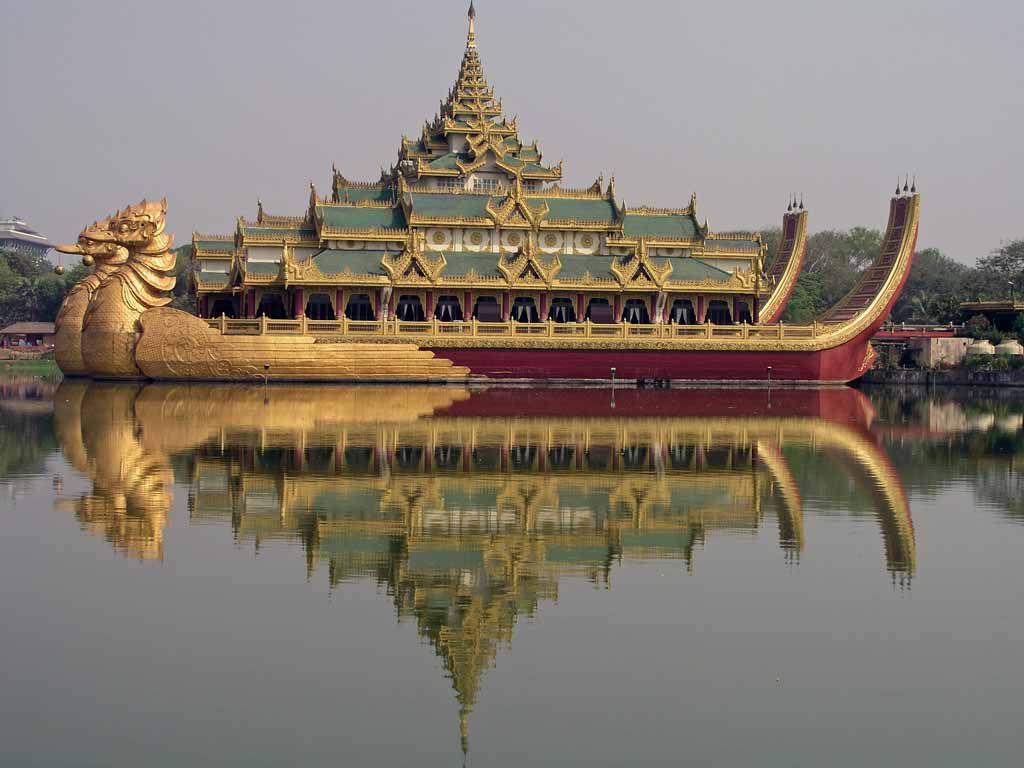 Yangon, Karaweik Schiff auf dem Kandawgyi See