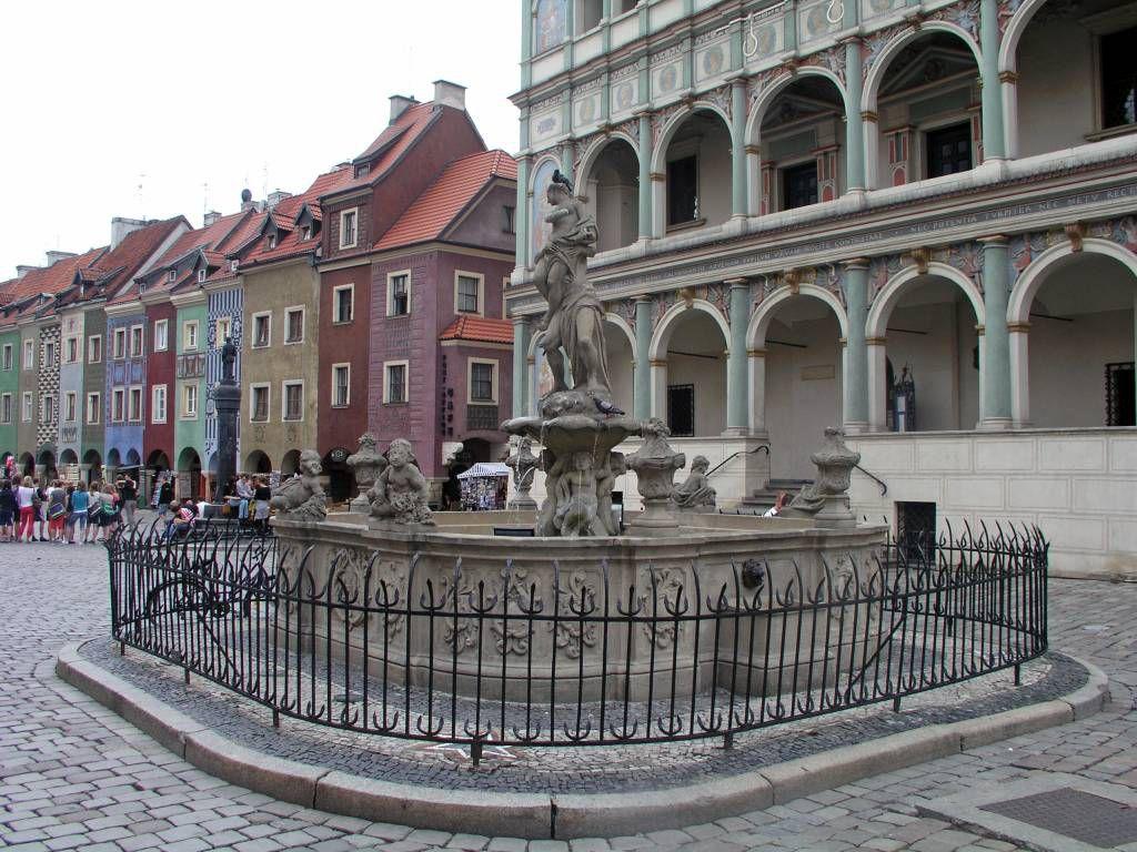 Posen, Poznań,  Proserpina Brunnen vor dem Rathaus