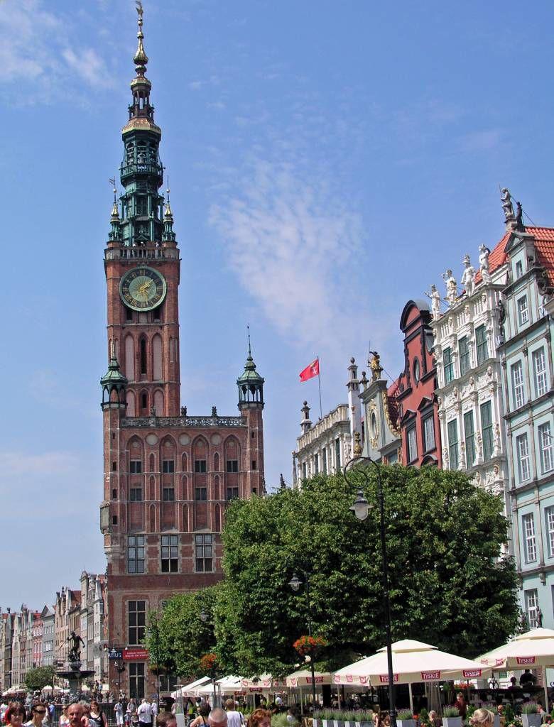 Danzig, Gdańsk, Langer Markt mit Rathaus