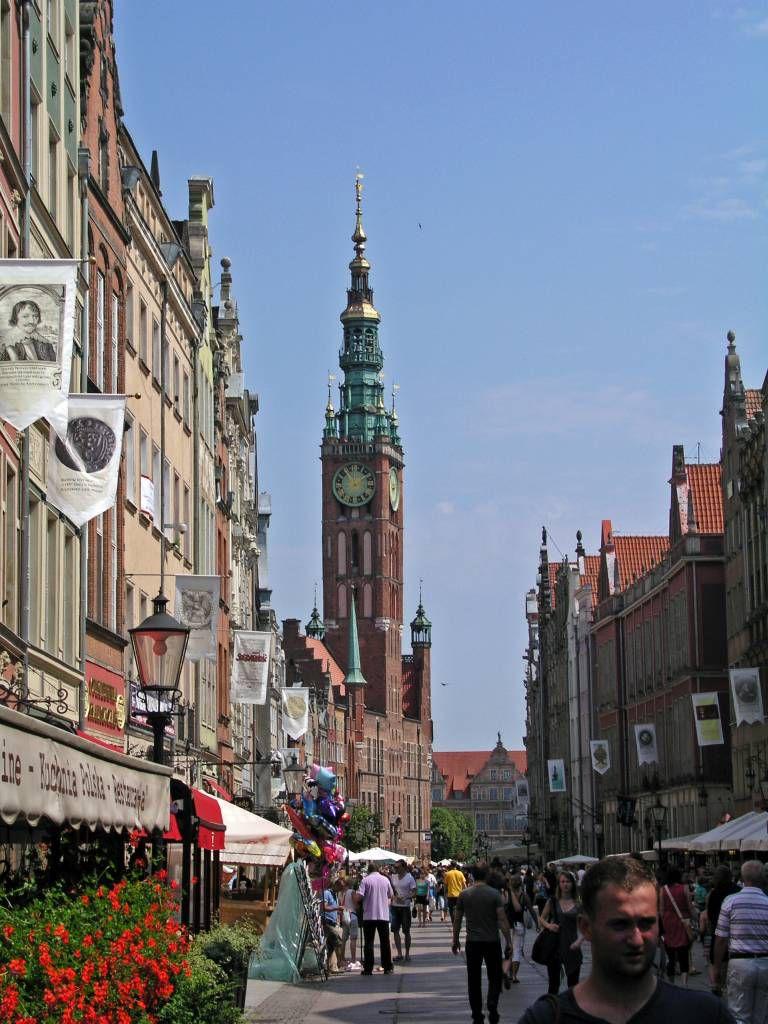 Danzig, Gdańsk, Lange Gasse mit Rathaus