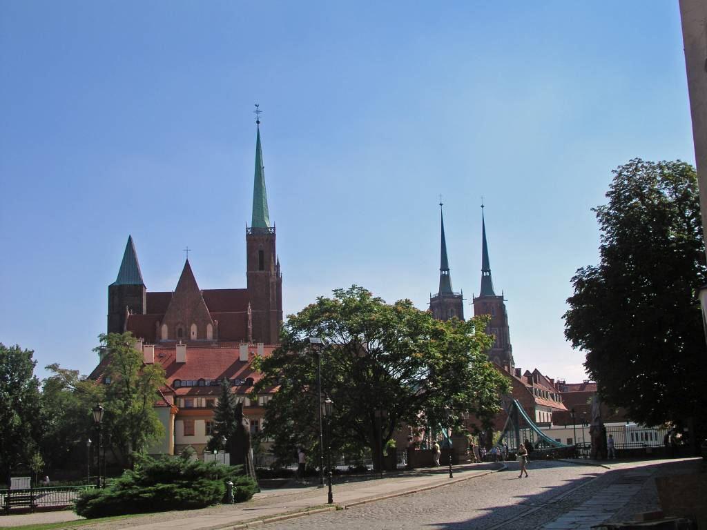 Breslau, Wrocław, Sandinsel, Dombrücke mit Stiftskirche und Dom