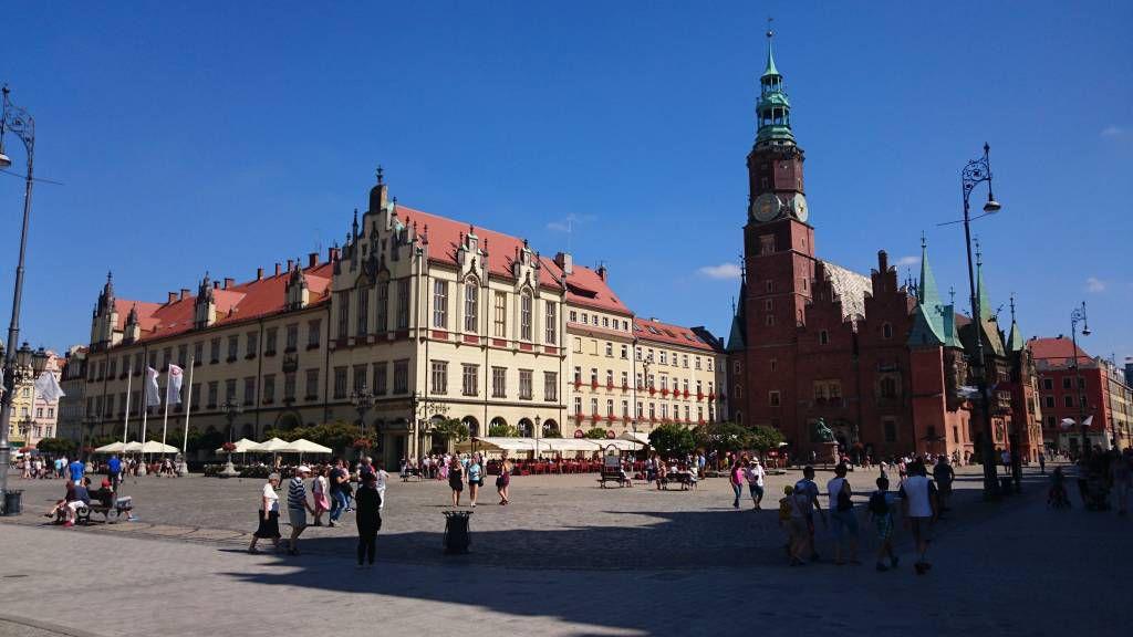 """Breslau, Wrocław, Marktplatz """"Großer Ring"""", neues und altes Rathaus"""