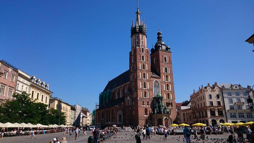 Krakau, Kraków, Hauptmarkt mit Marienkirche