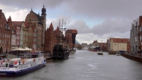 Gdańsk, Danzig, Mottlau mit Krantor
