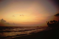 Hikkaduwa, Sunils Beach Hotel, Sonnenuntergang am Strand