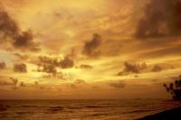 Hikkaduwa, Sonnenuntergang vor dem Sunils Beach Hotel