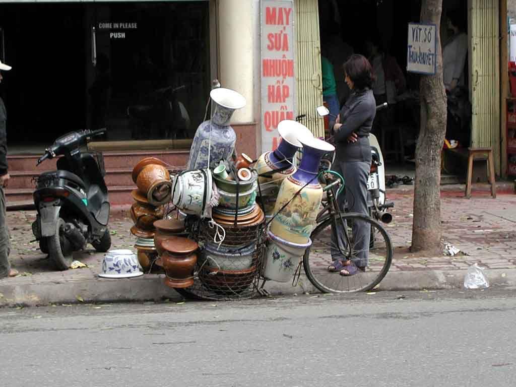 Vasen verkaufen sich gut vom Fahrrad aus