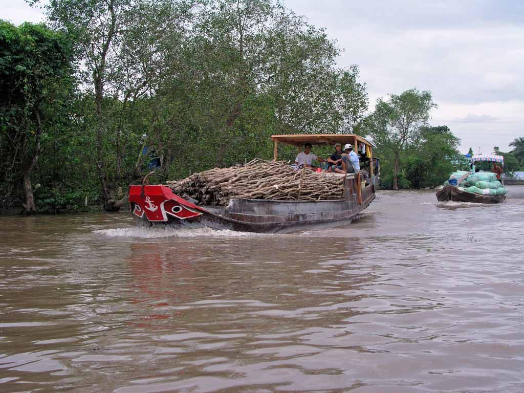 Mekong, typische Schiffe für die Region