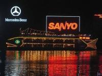 Saigon, Ausflugsdampfer auf den Saigon Fluss / Song Sai Gon / bei Nacht
