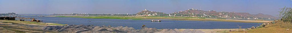 Mandalay, Panoramablick über den Ayeyarwady Fluss in Richtung Sagaing