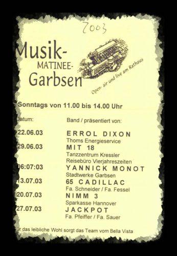 Programm der Musikmatinee Garbsen2003
