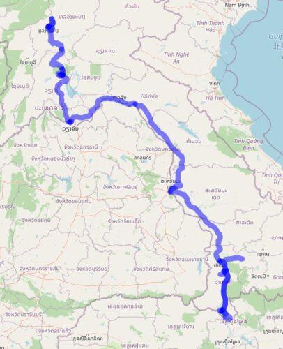 Darstellung meiner Strecke durch Laos. Karte: © Openstreetmap-Mitwirkende 2021
